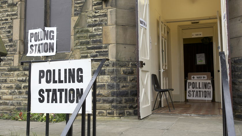 photo of the signposted entrance of a generic polling station